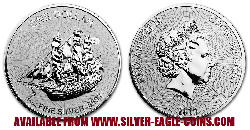 2017 Cook Islands Silver Bounty Ship Coin