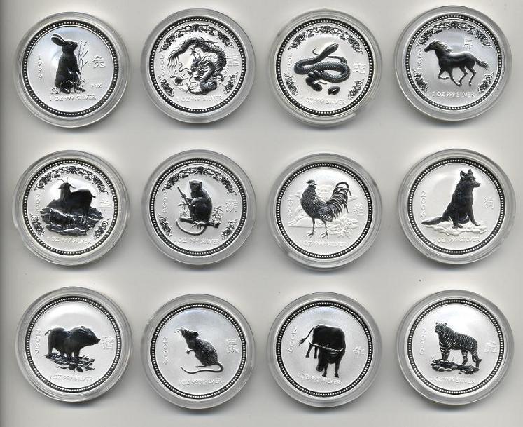 Complete 12 Coin Set Australian 1 Ounce Silver Lunar Coins