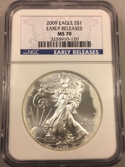 Graded Silver Eagle with Milk Spots